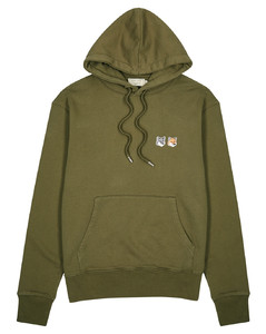 Olive hooded cotton sweatshirt