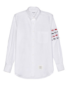 Embroidered Button Down in White