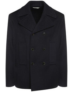 Wool & Cashmere Peacoat W/knit Back