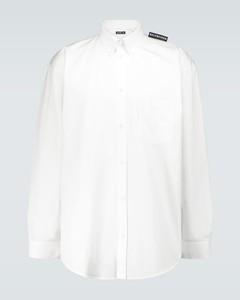 Tab long-sleeved cotton shirt