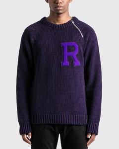 Letter Badge And Zipper Raglan Sweater