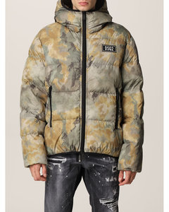 down jacket in camouflage technical fabric