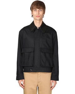 Cotton Canvas Jacket W/ Leather Collar