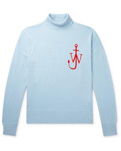 Logo-Jacquard Wool Rollneck Sweater