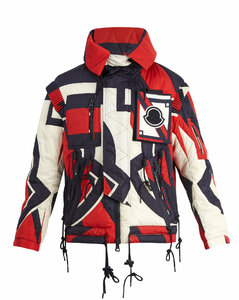 Abstract-print hooded quilted down jacket