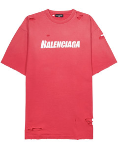 Pink distressed logo cotton T-shirt