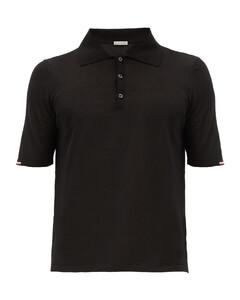 Tricolour-trim cotton-jersey polo shirt