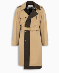 Contrasting paneled trench coat