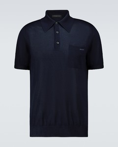Short-sleeved cashmere polo sweater