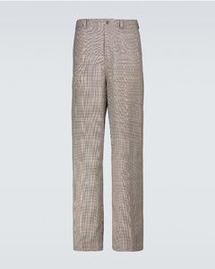 格纹阔腿裤