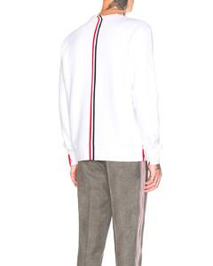 Back Stripe Crewneck Pullover in White