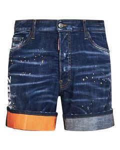 黑色Shiny皮革短裤