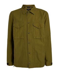 Black logo-print denim shirt