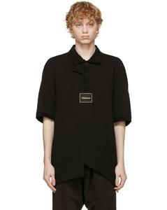 黑色拼接大廓形Polo衫