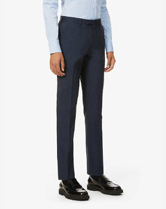 Checked wool-blend suit trousers