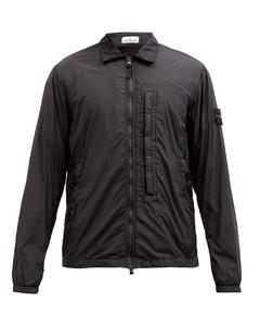 Point-collar technical-shell overshirt
