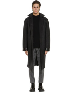 Reversible Wool Raincoat W/leather Patch