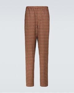 格纹锥形裤