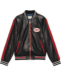 Leather bomber with Gucci pool patch