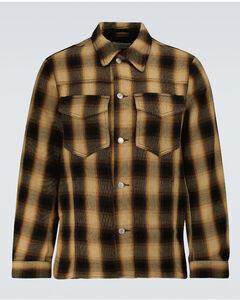 Drawstring-hem colour-blocked shell hooded jacket