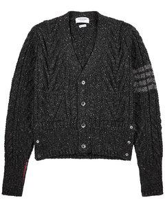 Grey wool-blend cardigan