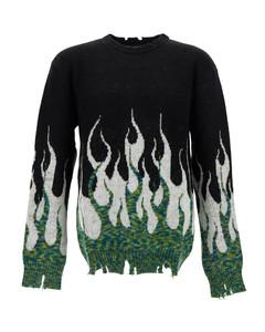Black/green/white flame-print distressed jumper