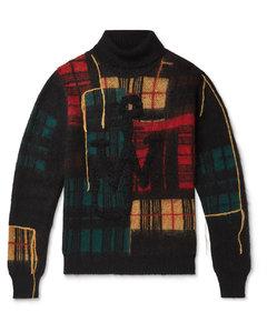 Patchwork Mohair-Blend Rollneck Sweater
