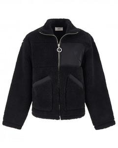 Black cotton-blend ami de coeur fleece jacket