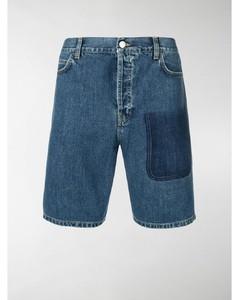 mid blue shaded pocket detail denim shorts