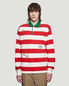 Striped Long Sleeve Polo Shirt in White