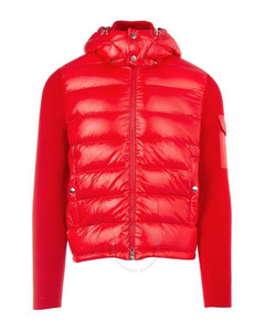 Men's Red Knitted Sleeve Padded Jacket