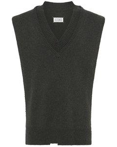 V Neck Wool Knit Vest W/side Slits