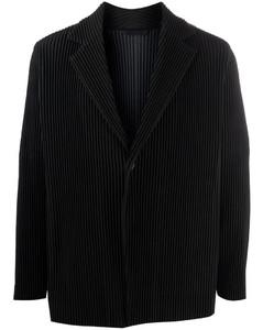 Black plissésingle-breasted blazer