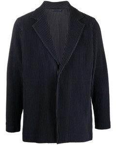 Navy blue plissésingle-breasted blazer