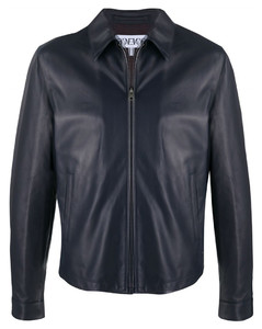 Zip-up leather jacket