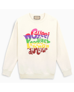 Ivory sweatshirt with multicolour lettering