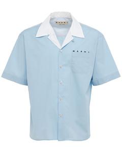 Logo Print Cotton Poplin Bowling Shirt