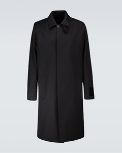 Patch trench jacket in wool