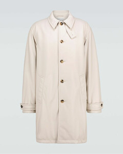 Leather padded trench coat