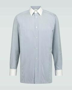 条纹拼接棉质长袖衬衫