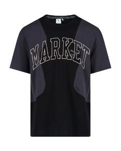 海军蓝&白色条纹抽绳泡泡纱短裤