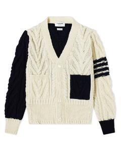 4 Bar Funmix Aran Cable Knit Cardigan