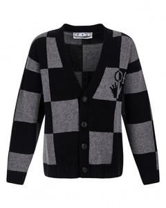 Black-grey check knit cardigan