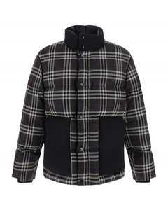 Check contrasting collar down jacket