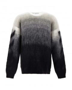 White/grey/black mohair-blend brushed gradient-effect jumper