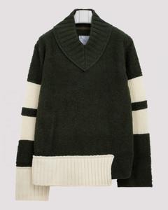 Green wool V-neck jumper