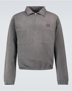 棉质半拉链衬衫式毛衣