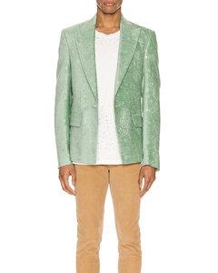 Paisley Velvet Glitter Blazer in Green,Paisley