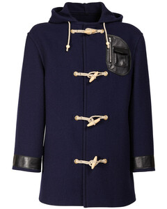 Wool Duffle Coat W/faux Leather Details