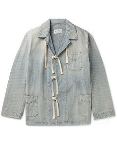 Distressed Striped Cotton-Gabardine Chore Jacket